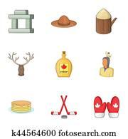 Canadian symbols icons set, cartoon style