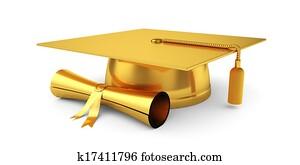 Golden graduation cap with diploma