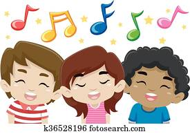 Kids Singing with Music Notes