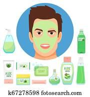 Male beauty treatments with organic aloe vera cosmetics