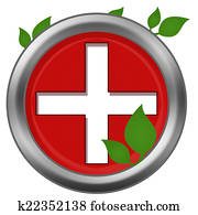 Red Cross Green Leaves