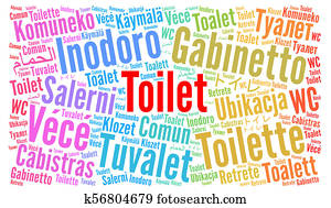 Toilet in different languages word cloud