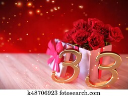 birthday concept with red roses in the gift on wooden desk. thirty-third. 33rd. 3D render