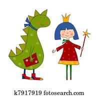 Coloring book. Princess and dragon