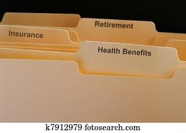 Employee benefits folders, health insurance etc