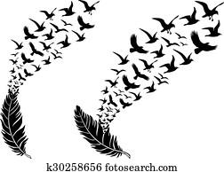 gefieder, mit, fliegen, birds,, vektor