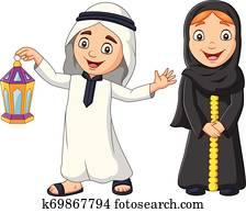 Happy Arab Muslim kids with Ramadan Lantern