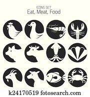 heiligenbilder, satz, :, animal,, meat,, meeresfrüchte
