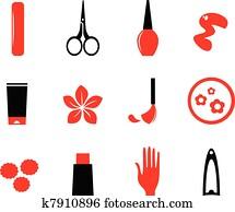 manicure,, kosmetikartikel, und, schoenheit, heiligenbilder, isolieren, wei?, (, red,, bla