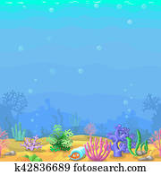 Seamless underwater landscape in cartoon style with sand corals and shell