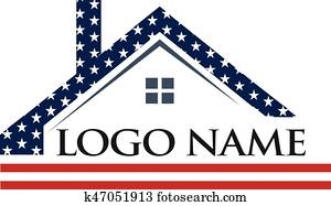 amerikanisch, dach, aufbau, logo, abbildung