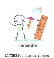 carpenter hammering nails into a board