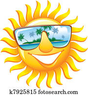 Cheerful sun in sunglasses