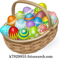 Illustration of painted Easter eggs