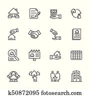 Real Estate, Vector illustration of thin line icons for business, banking