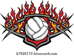 Volleyball Ball Template with Flame