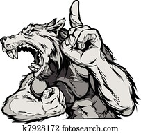 Wolf Mascot Body Vector Cartoon