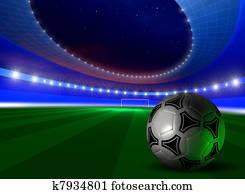 background with soccer ball on futuristic stadium