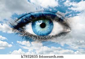 Blue eye and blue sky - Spiritual concept