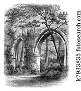 Cloister of the Abbey of Vaux Cernay, France vintage engraving.