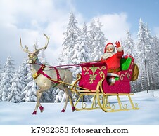 Santa Claus on his sleigh and reindeer