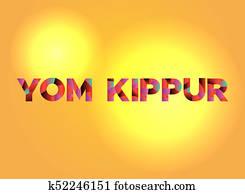 Yom Kippur Theme Word Art Illustration