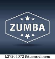 zumba hexagonal white vintage retro style label