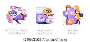 Artificial intelligence in business vector concept metaphors.