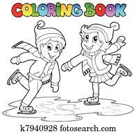 Clip Art Eiskunstläufer Färbung Seite K22137417 Suche Clipart