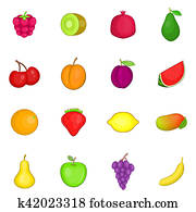 Fruit icons set, cartoon style