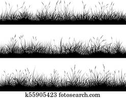 Horizontal banners of meadow silhouettes with high grass.