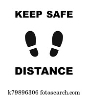 Keep safe distance icon sign