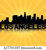 Los Angeles skyline reflected with sunburst illustration