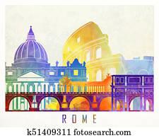 Paris landmarks watercolor poster