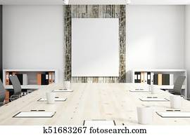 Conference room with empty banner