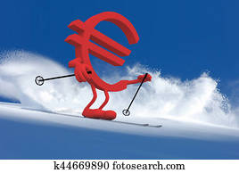 euror sign with arms and legs that is skiing