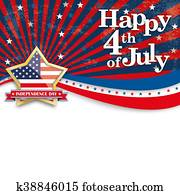 Happy 4th July Stars US Stripes Golden Star