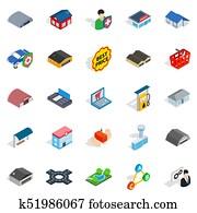Homely icons set, isometric style