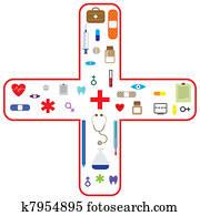 medizinische, vectoricon, satz, für, gesundheitspflege, industrie
