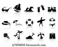 schwarz, sandstrand, symbol, satz