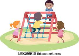 Stickman Kids Rope Climber Playground Illustration