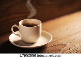 tasse kaffee, auf, dass, holztisch