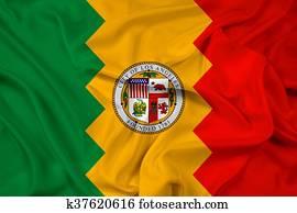 Waving Flag of Los Angeles, California