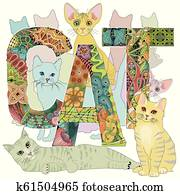 Word CAT with drawing of a cats. Vector decorative zentangle objects