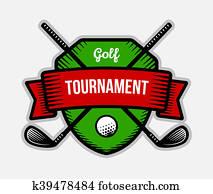 Golf club summer sport shield logo.