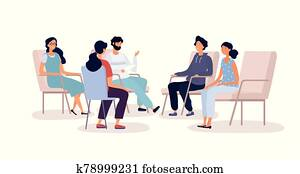 Group therapy for addiction treatment concept