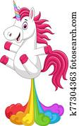 Cartoon funny unicorn horse with rainbows fart