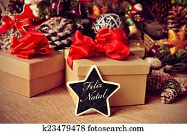 feliz natal, merry christmas in portuguese