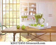 fresh white tulips on kitchen background