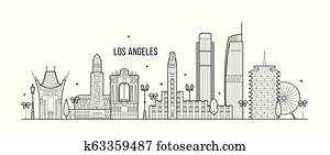 Los Angeles skyline USA big city buildings vector